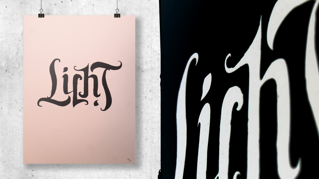 lettering-screenprint-Licht