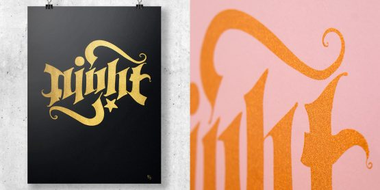 Ambigram Screen print – Night